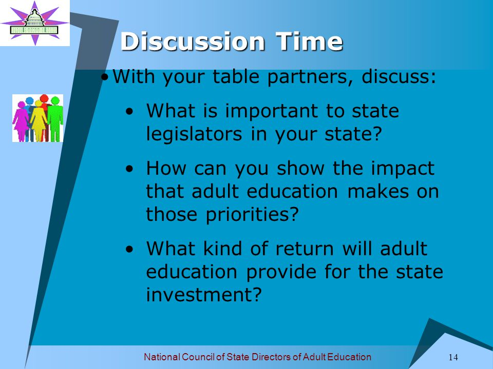 National Council of State Directors of Adult Education 14 Discussion Time With your table partners, discuss: What is important to state legislators in your state.