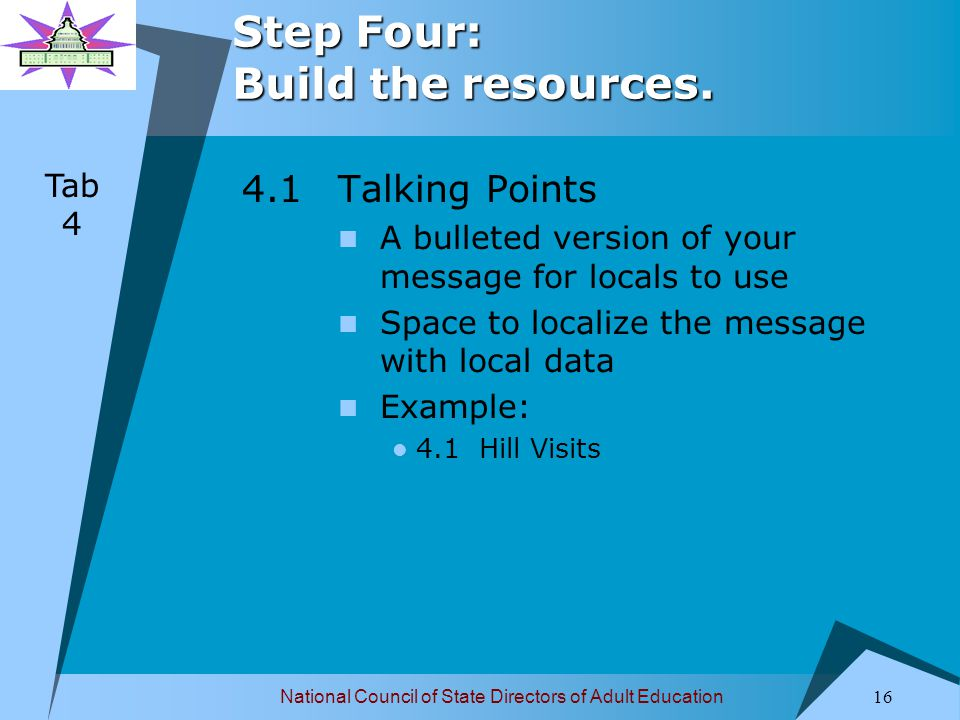 National Council of State Directors of Adult Education 16 Step Four: Build the resources.