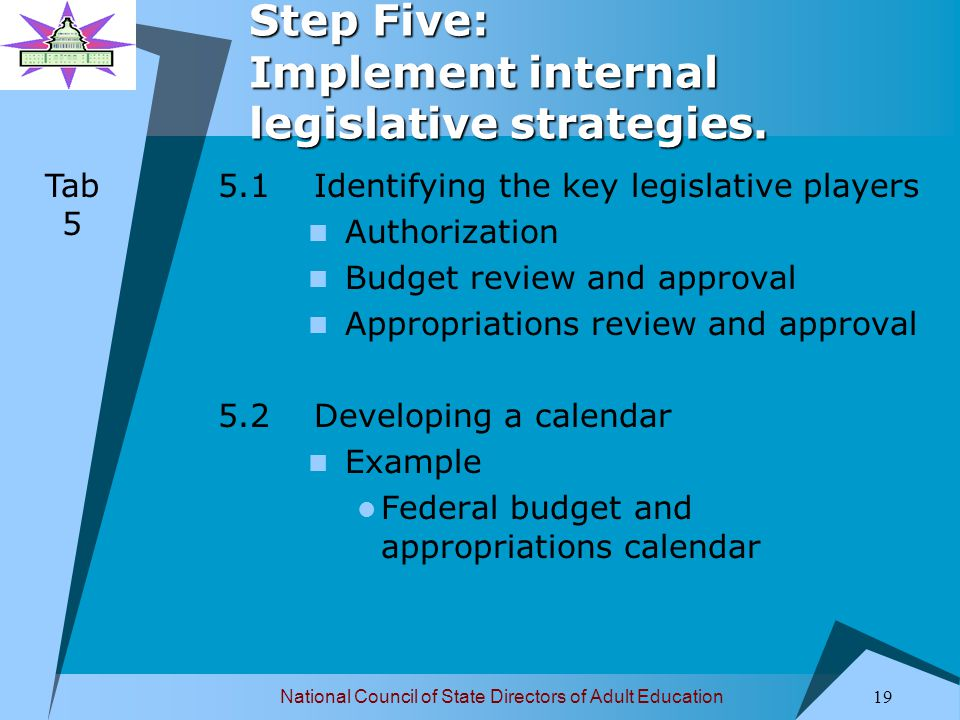National Council of State Directors of Adult Education 19 Step Five: Implement internal legislative strategies.