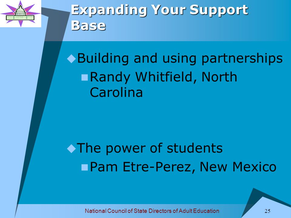 National Council of State Directors of Adult Education 25 Expanding Your Support Base  Building and using partnerships Randy Whitfield, North Carolina  The power of students Pam Etre-Perez, New Mexico