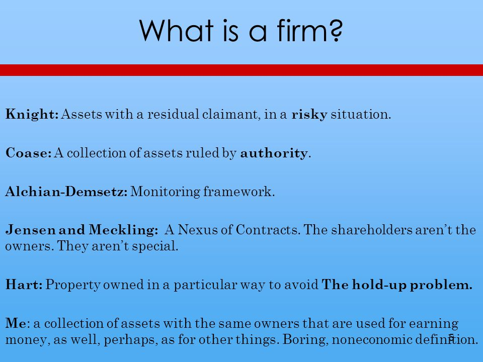 What is a firm. Knight: Assets with a residual claimant, in a risky situation.