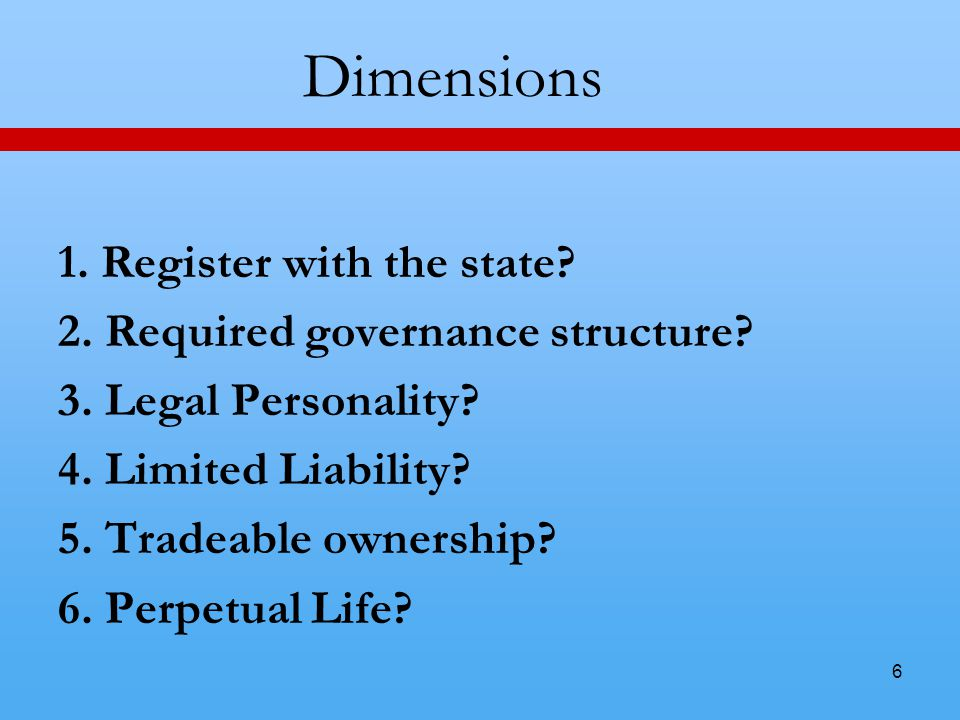 6 Dimensions 1. Register with the state. 2. Required governance structure.