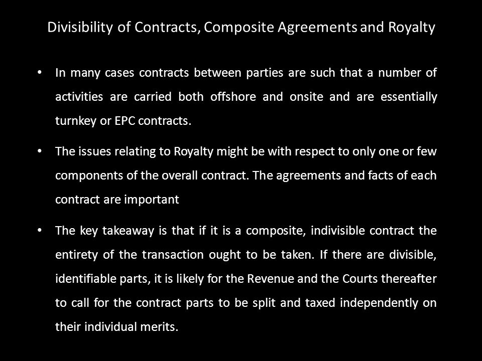 In many cases contracts between parties are such that a number of activities are carried both offshore and onsite and are essentially turnkey or EPC c
