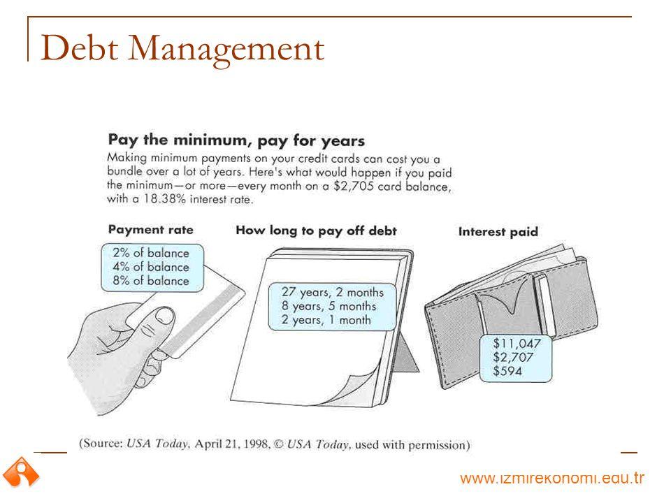www.izmirekonomi.edu.tr Your Earning Interest Rate = 6% Debt Financing: P debt = $2,000 + $372.55(P/A, 0.5%, 36) - $8,673.10(P/F, 0.5%, 36) = $6,998.47 Lease Financing: P lease = $495 + $236.45 + $236.45(P/A, 0.5%, 35) + $300(P/F, 0.5%, 36) = $8,556.90