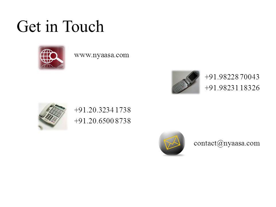 Get in Touch www.nyaasa.com +91.98228 70043 +91.98231 18326 +91.20.3234 1738 +91.20.6500 8738 contact@nyaasa.com
