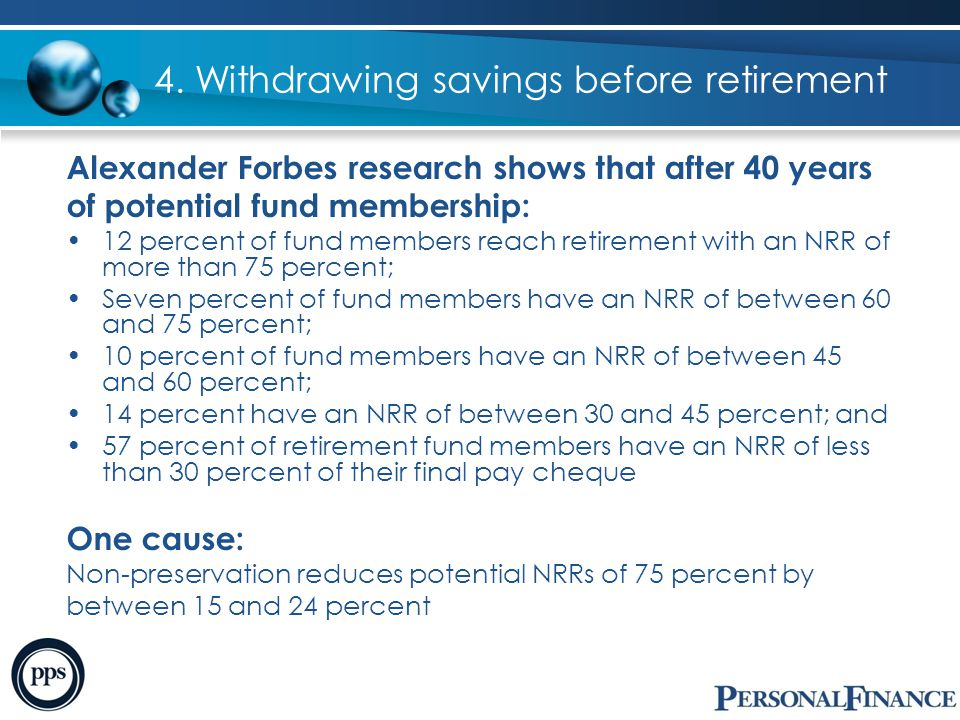4. Withdrawing savings before retirement Alexander Forbes research shows that after 40 years of potential fund membership: 12 percent of fund members