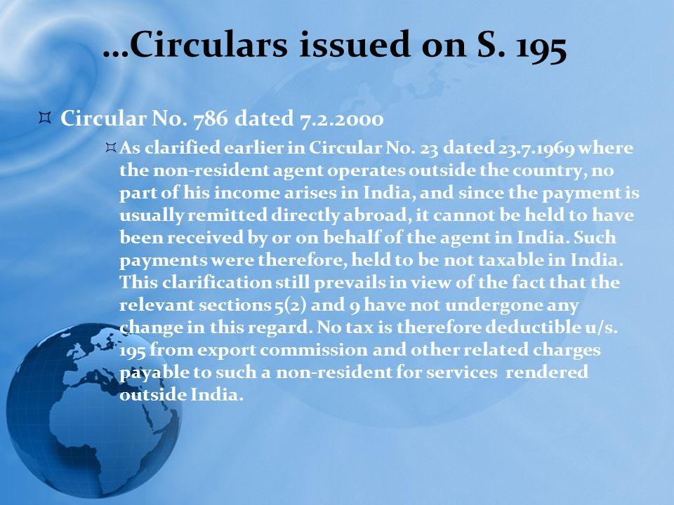 …Circulars issued on S. 195  Circular No.