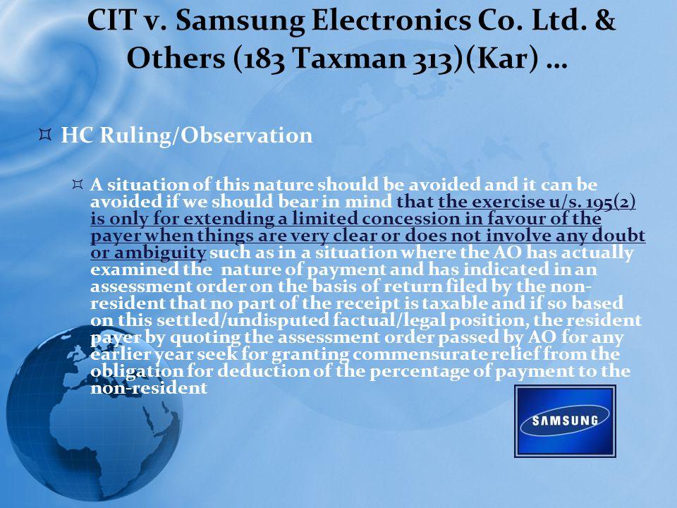 CIT v. Samsung Electronics Co. Ltd.