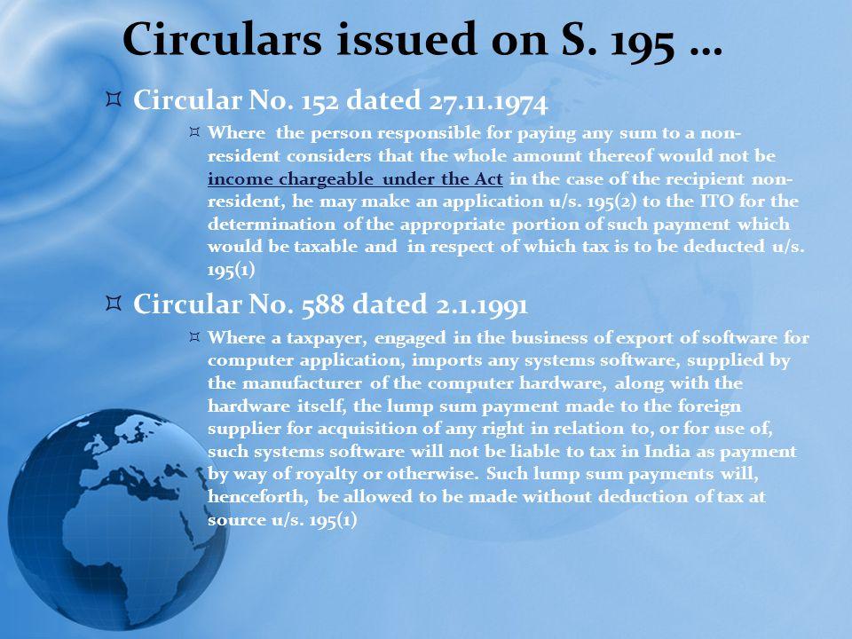 Circulars issued on S. 195 …  Circular No.