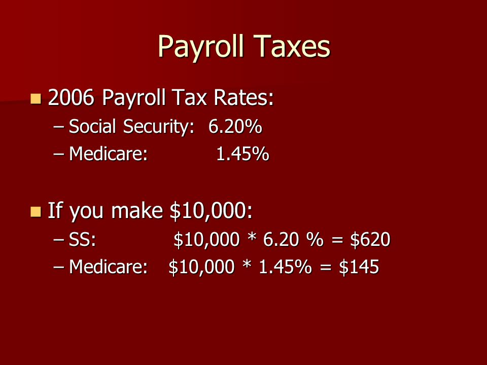 2006 Payroll Tax Rates: 2006 Payroll Tax Rates: –Social Security: 6.20% –Medicare: 1.45% If you make $10,000: If you make $10,000: –SS: $10,000 * 6.20 % = $620 –Medicare: $10,000 * 1.45% = $145 Payroll Taxes