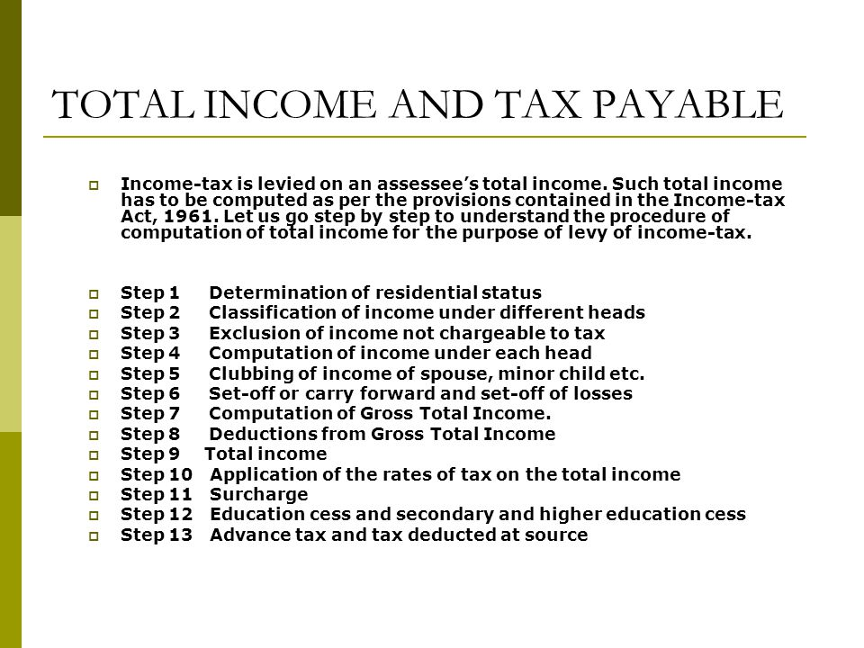 TOTAL INCOME AND TAX PAYABLE  Income-tax is levied on an assessee's total income.