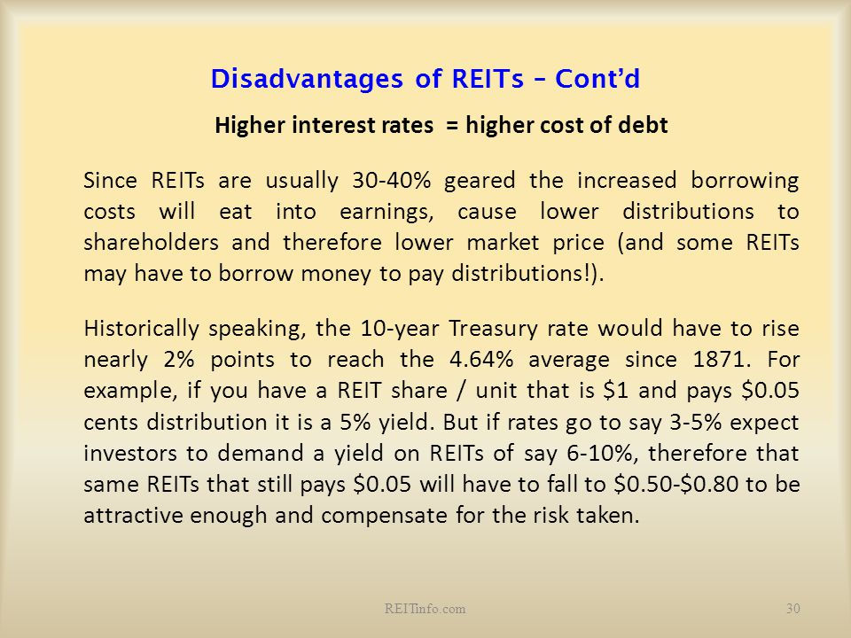 Disadvantages of REITs – Cont'd Higher interest rates = higher cost of debt Since REITs are usually 30-40% geared the increased borrowing costs will e