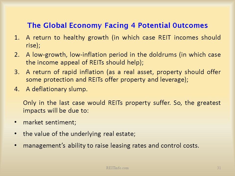 The Global Economy Facing 4 Potential 0utcomes 1.A return to healthy growth (in which case REIT incomes should rise); 2.A low-growth, low-inflation pe