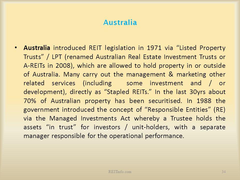 "Australia Australia introduced REIT legislation in 1971 via ""Listed Property Trusts"" / LPT (renamed Australian Real Estate Investment Trusts or A-REIT"
