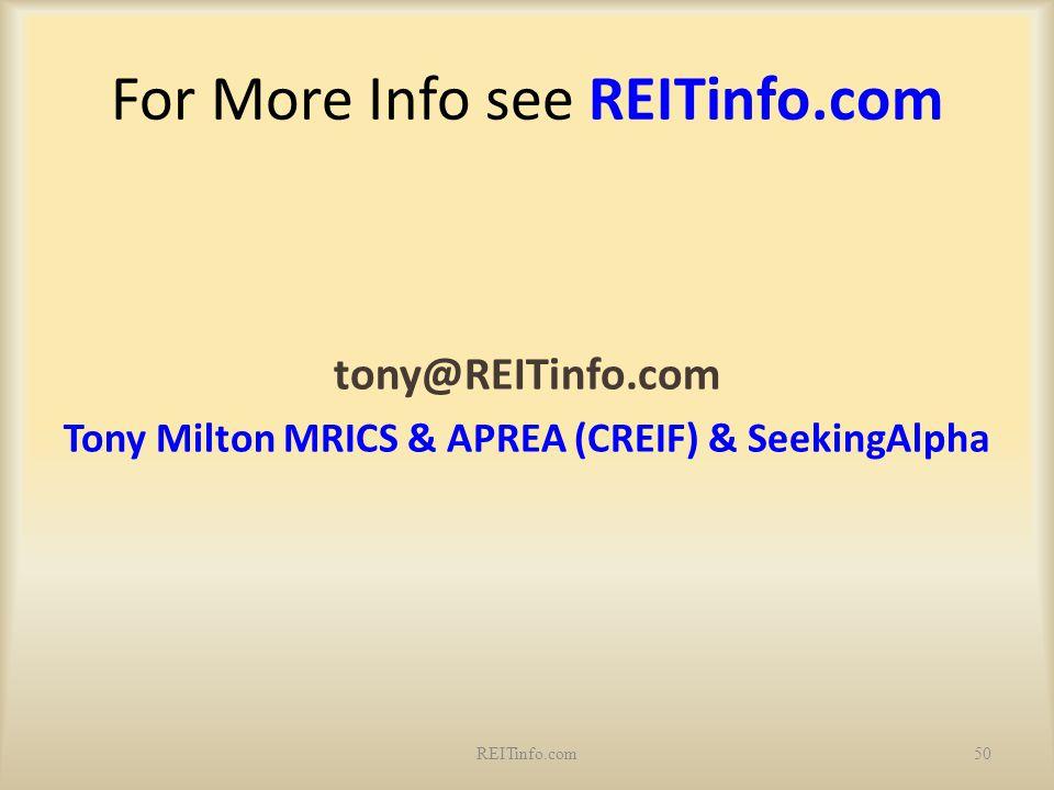 For More Info see REITinfo.com tony@REITinfo.com Tony Milton MRICS & APREA (CREIF) & SeekingAlpha 50REITinfo.com