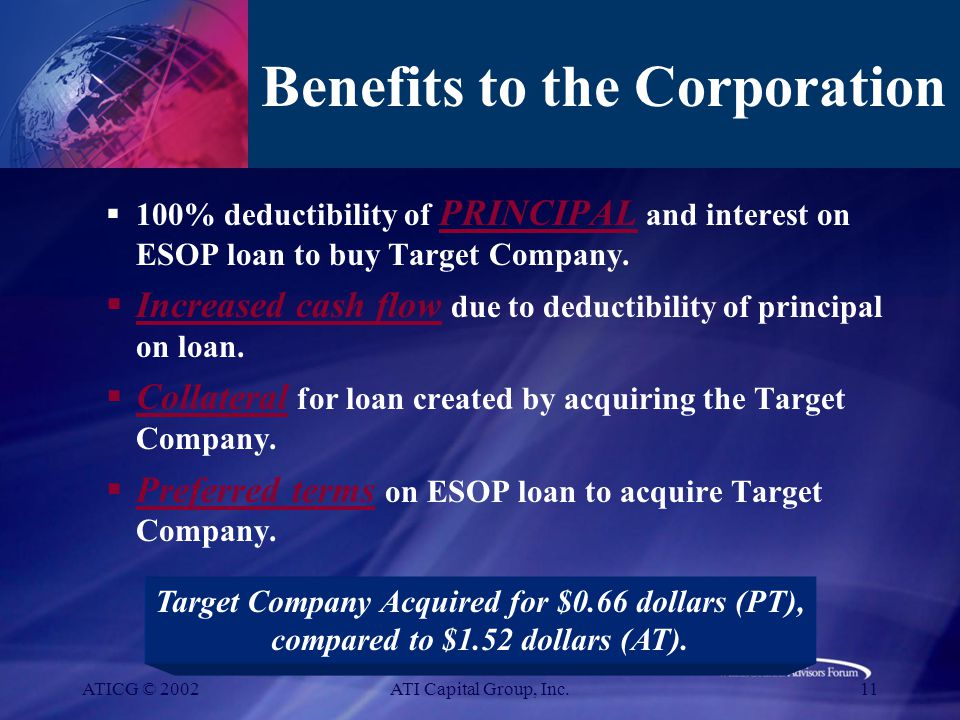 ATICG © 2002ATI Capital Group, Inc.11 Benefits to the Corporation  100% deductibility of PRINCIPAL and interest on ESOP loan to buy Target Company.