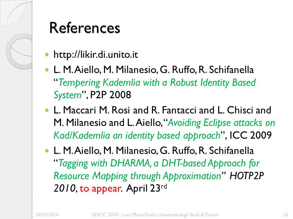 """References http://likir.di.unito.it L. M. Aiello, M. Milanesio, G. Ruffo, R. Schifanella """"Tempering Kademlia with a Robust Identity Based System"""", P2P"""