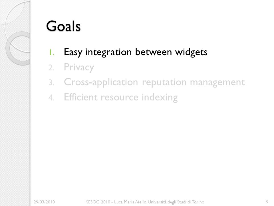 Goals 1. Easy integration between widgets 2. Privacy 3.