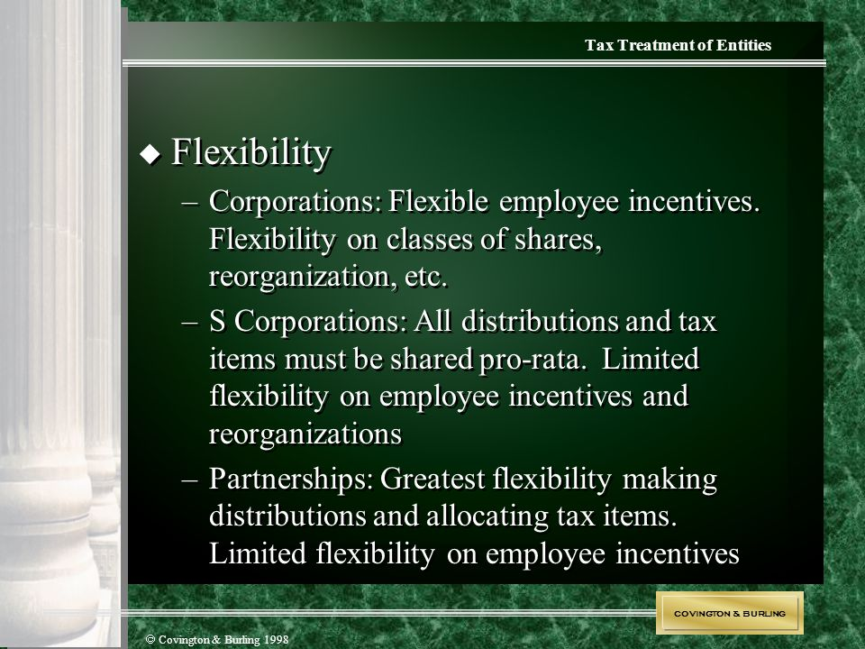 COVINGTON & BURLING  Covington & Burling 1998  Flexibility –Corporations : Flexible employee incentives. Flexibility on classes of shares, reorganiz