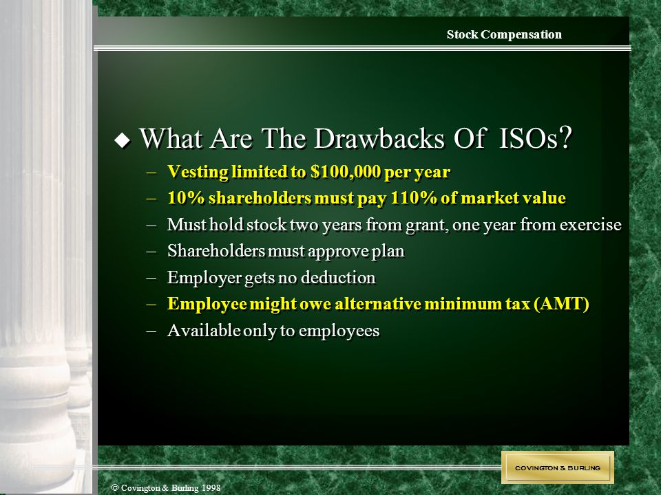 COVINGTON & BURLING  Covington & Burling 1998 Stock Compensation  What Are The Drawbacks Of ISOs ? –Vesting limited to $100,000 per year –10% shareh