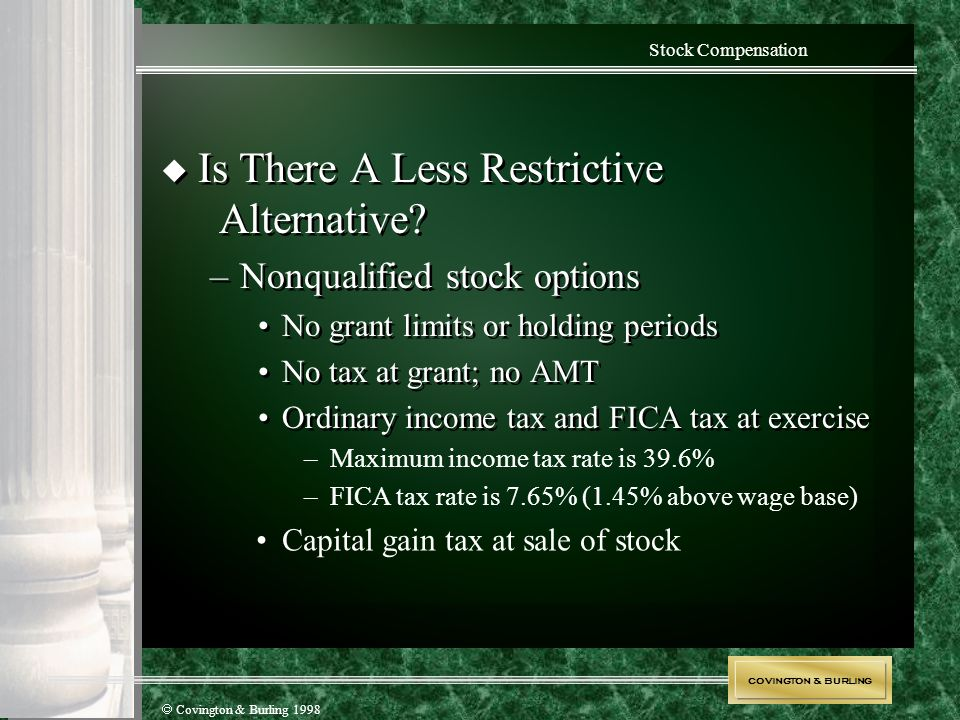 COVINGTON & BURLING  Covington & Burling 1998 Stock Compensation  Is There A Less Restrictive Alternative? –Nonqualified stock options No grant limi