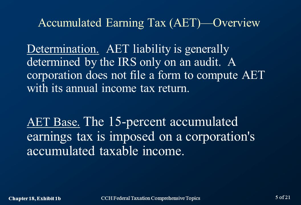 CCH Federal Taxation Comprehensive Topics 5 of 21 Determination.