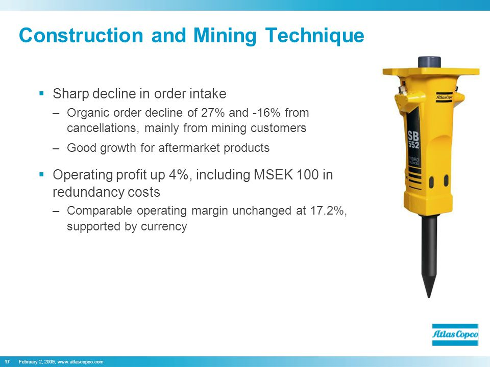 February 2, 2009, www.atlascopco.com17  Sharp decline in order intake –Organic order decline of 27% and -16% from cancellations, mainly from mining customers –Good growth for aftermarket products  Operating profit up 4%, including MSEK 100 in redundancy costs –Comparable operating margin unchanged at 17.2%, supported by currency Construction and Mining Technique