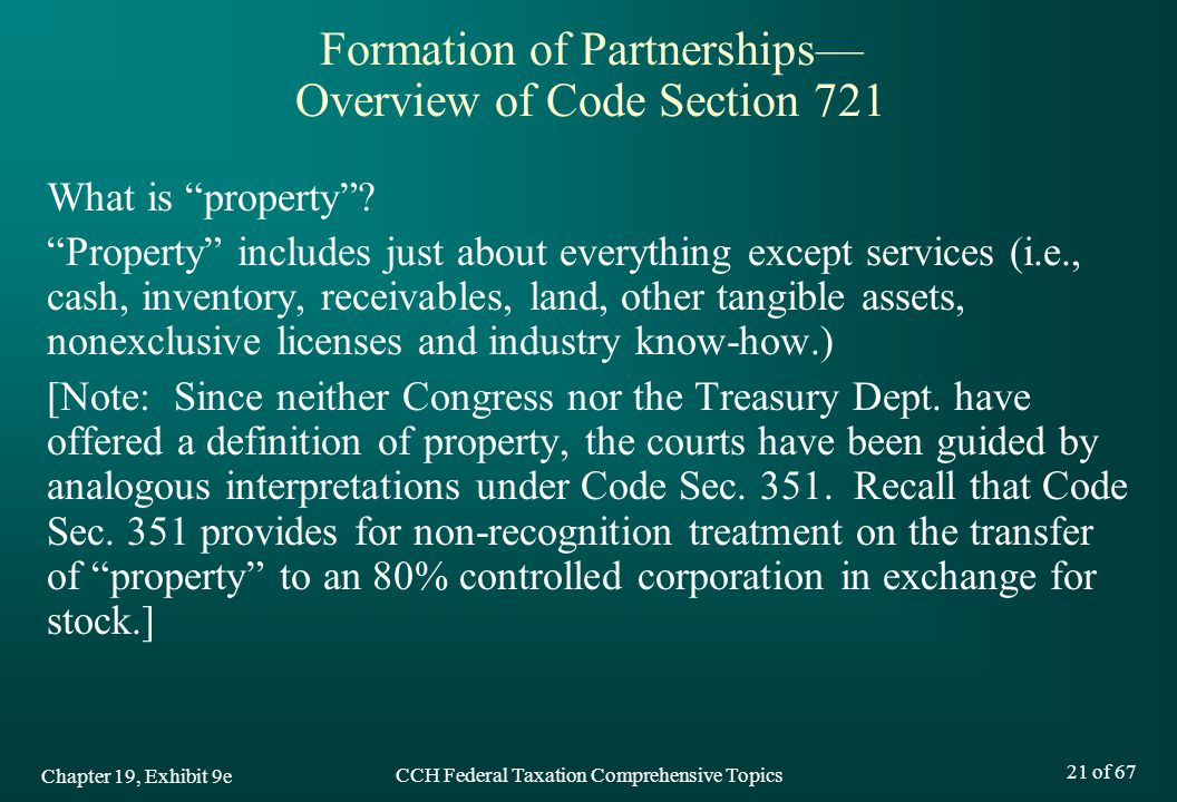 CCH Federal Taxation Comprehensive Topics 21 of 67 What is property .