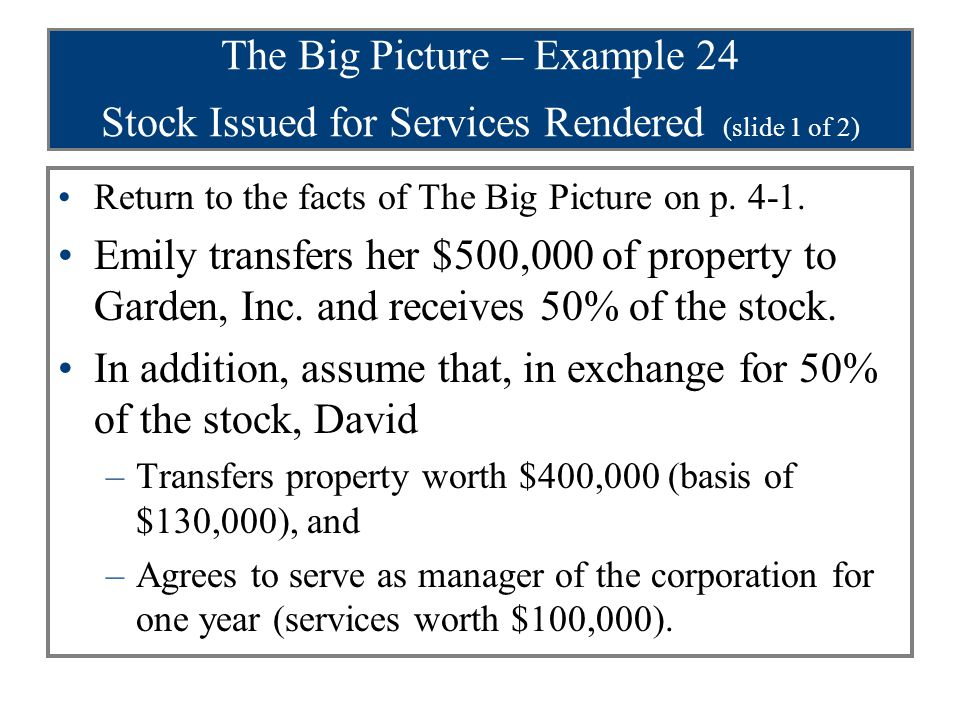 The Big Picture – Example 24 Stock Issued for Services Rendered (slide 2 of 2) Return to the facts of The Big Picture on p.