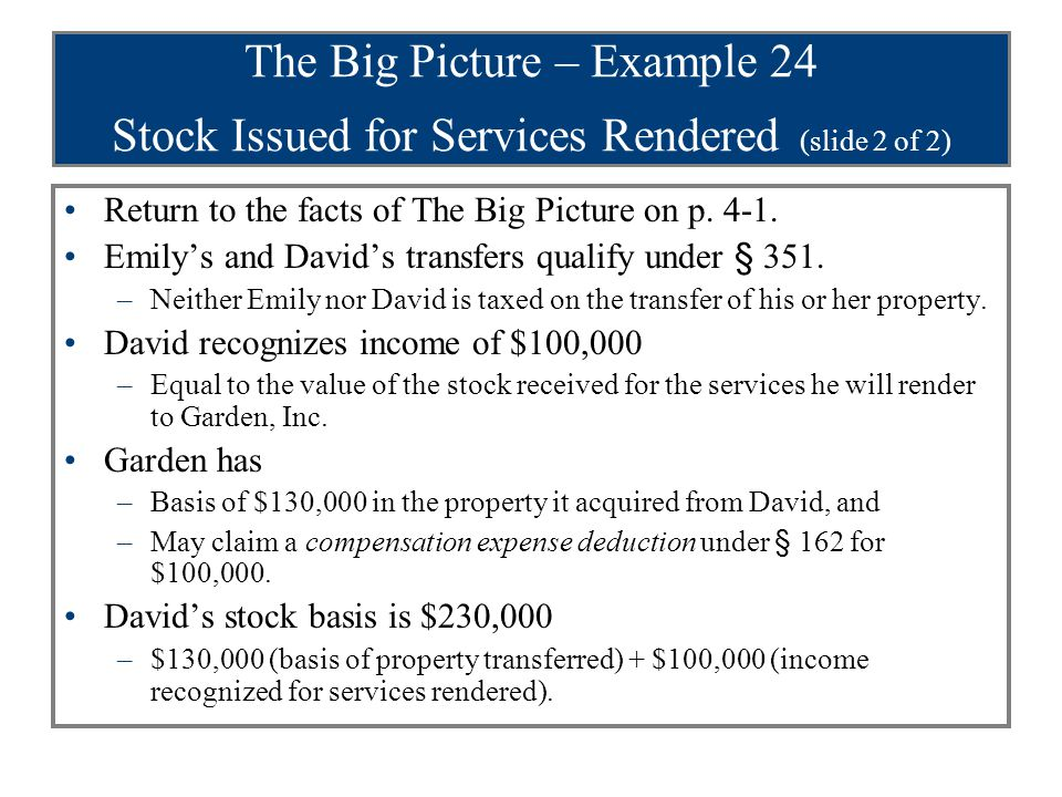 The Big Picture – Example 25 Stock Issued for Services Rendered Assume the same facts as in Example 24 except that David provides legal services (instead of management services) in organizing the corporation.