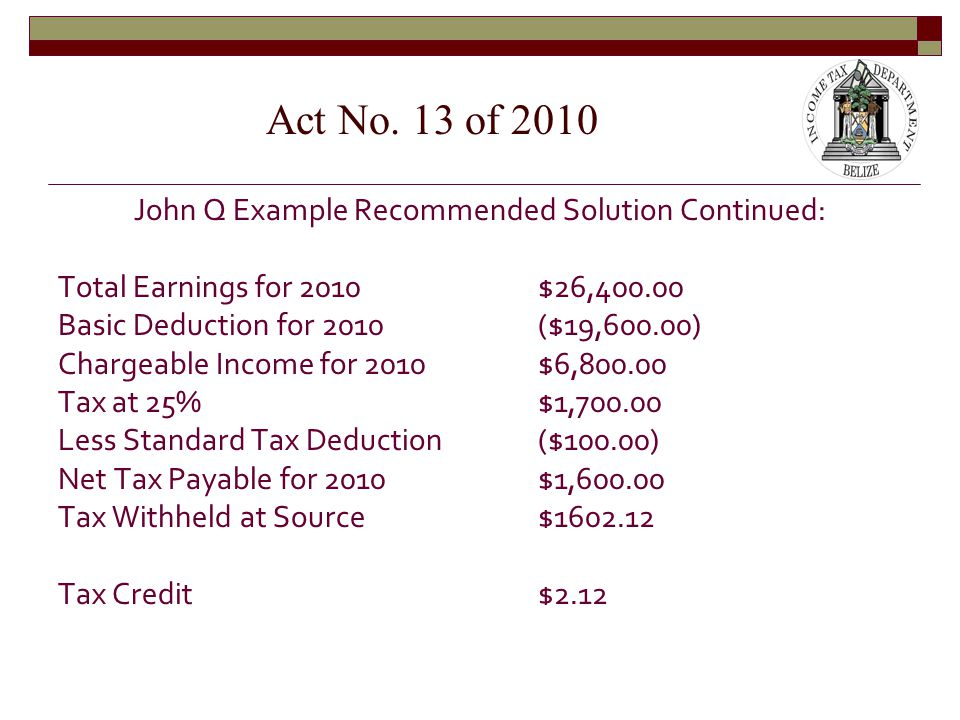 John Q Example Recommended Solution Continued: Total Earnings for 2010$26,400.00 Basic Deduction for 2010($19,600.00) Chargeable Income for 2010$6,800.00 Tax at 25%$1,700.00 Less Standard Tax Deduction($100.00) Net Tax Payable for 2010$1,600.00 Tax Withheld at Source$1602.12 Tax Credit$2.12 Act No.