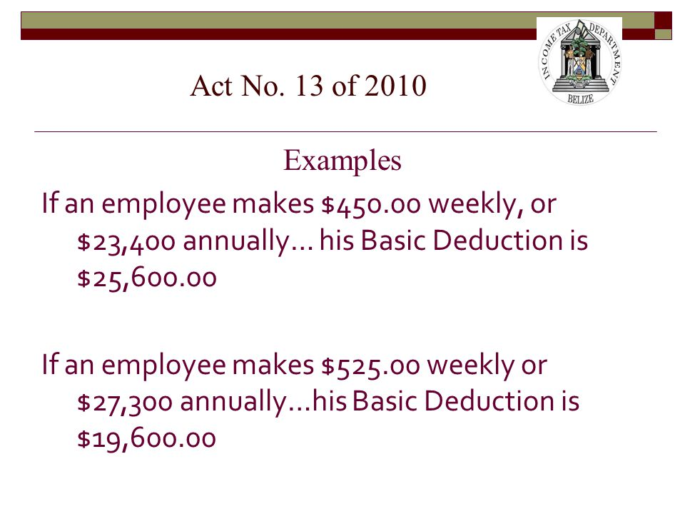 Examples If an employee makes $450.00 weekly, or $23,400 annually… his Basic Deduction is $25,600.00 If an employee makes $525.00 weekly or $27,300 annually…his Basic Deduction is $19,600.00 Act No.