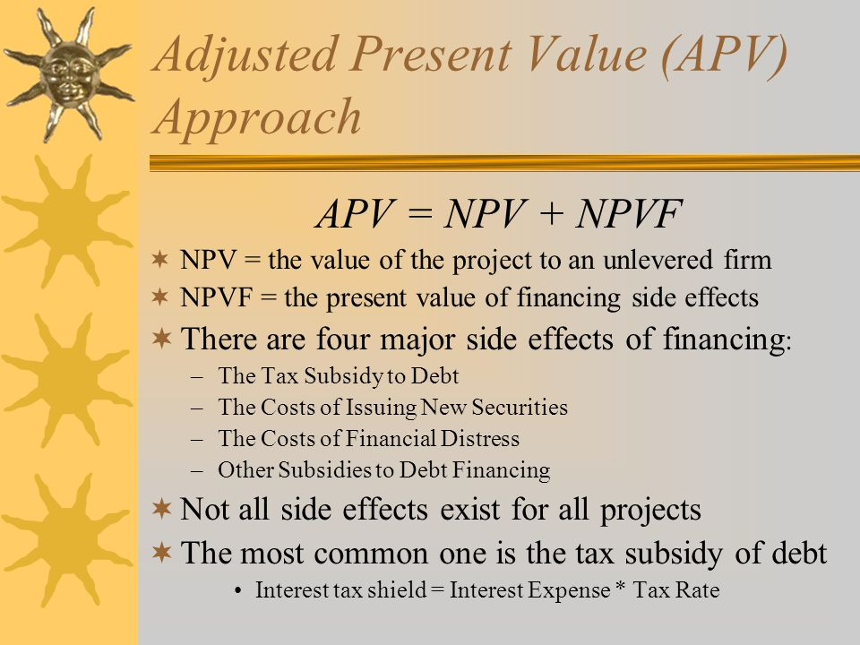 Adjusted Present Value (APV) Approach APV = NPV + NPVF  NPV = the value of the project to an unlevered firm  NPVF = the present value of financing side effects  There are four major side effects of financing : –The Tax Subsidy to Debt –The Costs of Issuing New Securities –The Costs of Financial Distress –Other Subsidies to Debt Financing  Not all side effects exist for all projects  The most common one is the tax subsidy of debt Interest tax shield = Interest Expense * Tax Rate