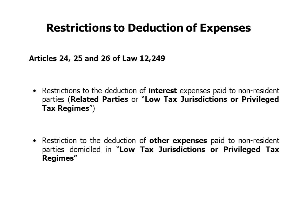 Restrictions to Deduction of Expenses Articles 24, 25 and 26 of Law 12,249 Restrictions to the deduction of interest expenses paid to non-resident par