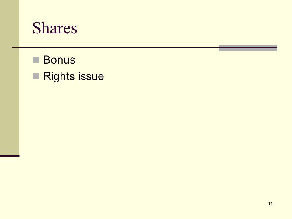Shares Bonus Rights issue 113