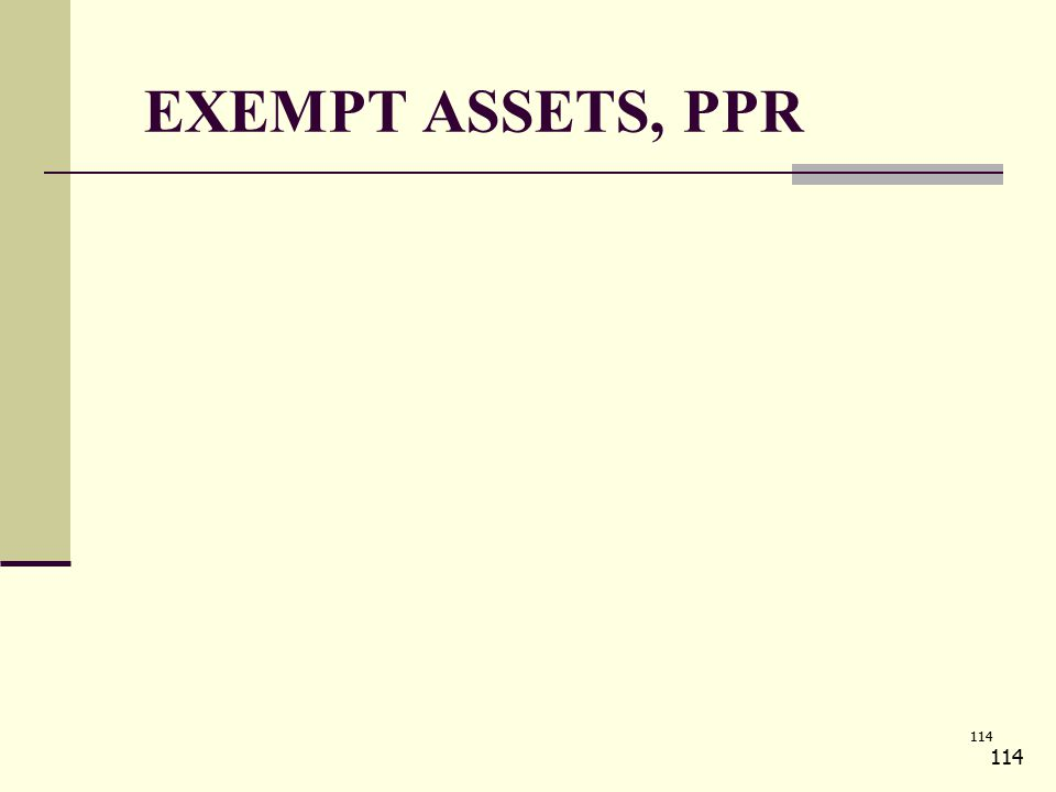 114 EXEMPT ASSETS, PPR 114