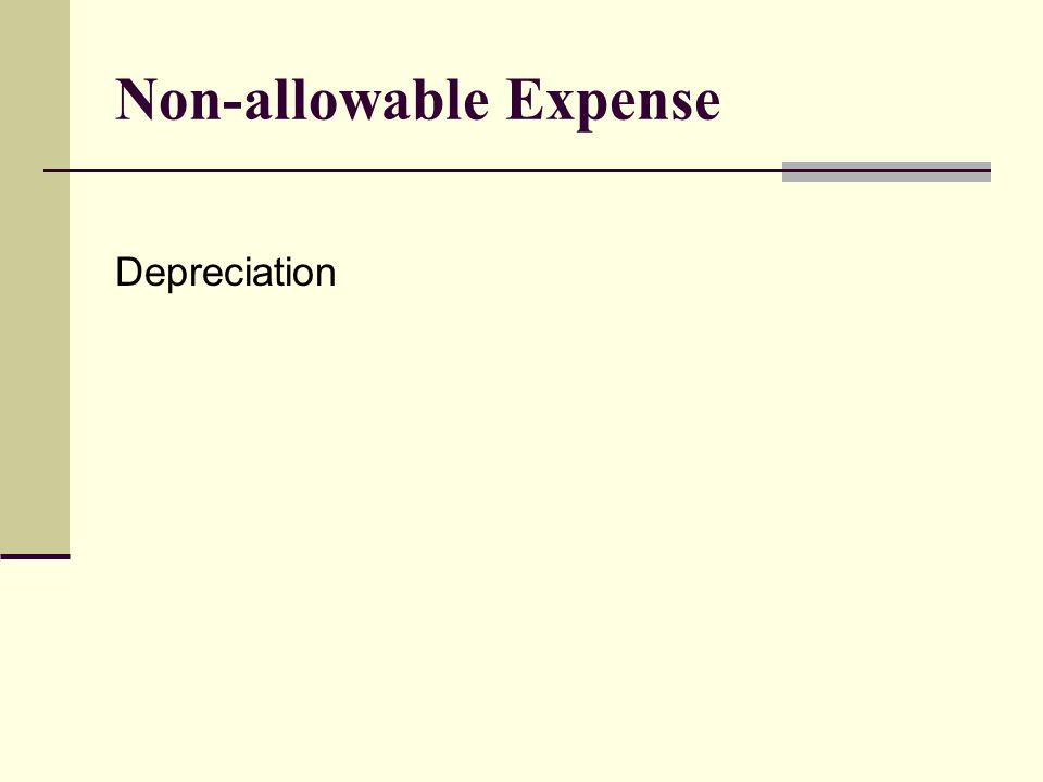 Non-allowable Expense Depreciation