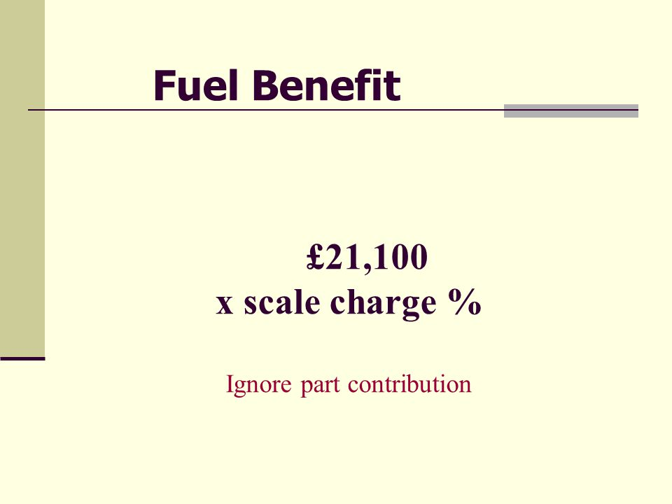 £21,100 x scale charge % Ignore part contribution Fuel Benefit