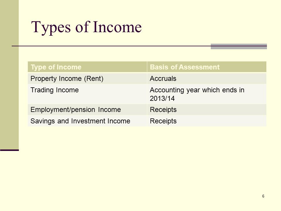 Types of Income Type of IncomeBasis of Assessment Property Income (Rent)Accruals Trading IncomeAccounting year which ends in 2013/14 Employment/pension IncomeReceipts Savings and Investment IncomeReceipts 6
