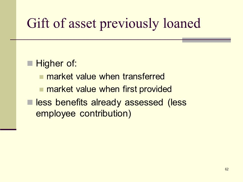 Gift of asset previously loaned Higher of: market value when transferred market value when first provided less benefits already assessed (less employe