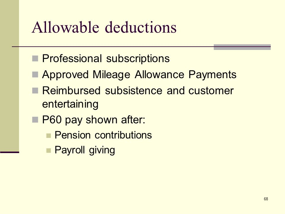 Professional subscriptions Approved Mileage Allowance Payments Reimbursed subsistence and customer entertaining P60 pay shown after: Pension contribut
