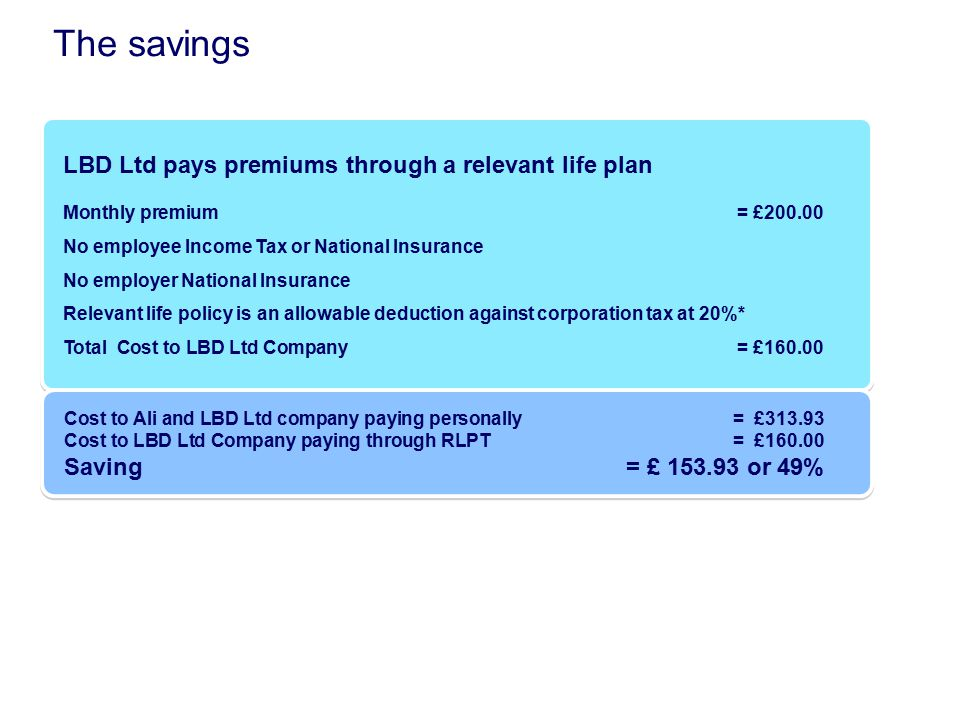 The savings LBD Ltd pays premiums through a relevant life plan Monthly premium = £200.00 No employee Income Tax or National Insurance No employer Nati