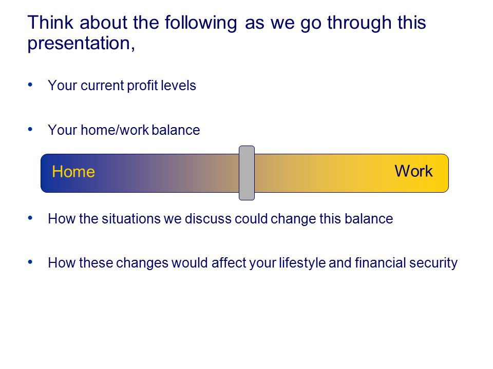 Think about the following as we go through this presentation, Your current profit levels Your home/work balance How the situations we discuss could ch