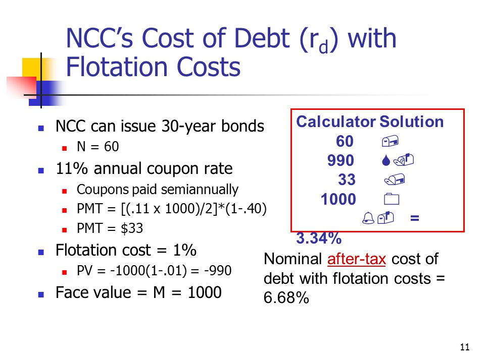 11 NCC's Cost of Debt (r d ) with Flotation Costs NCC can issue 30-year bonds N = 60 11% annual coupon rate Coupons paid semiannually PMT = [(.11 x 10