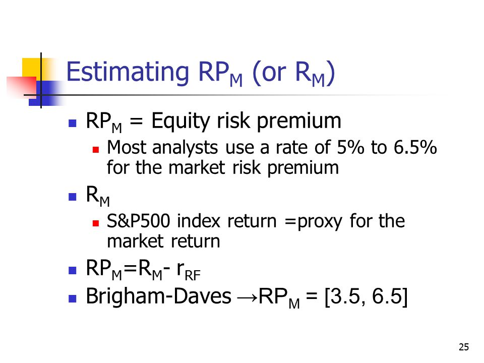 25 Estimating RP M (or R M ) RP M = Equity risk premium Most analysts use a rate of 5% to 6.5% for the market risk premium R M S&P500 index return =pr