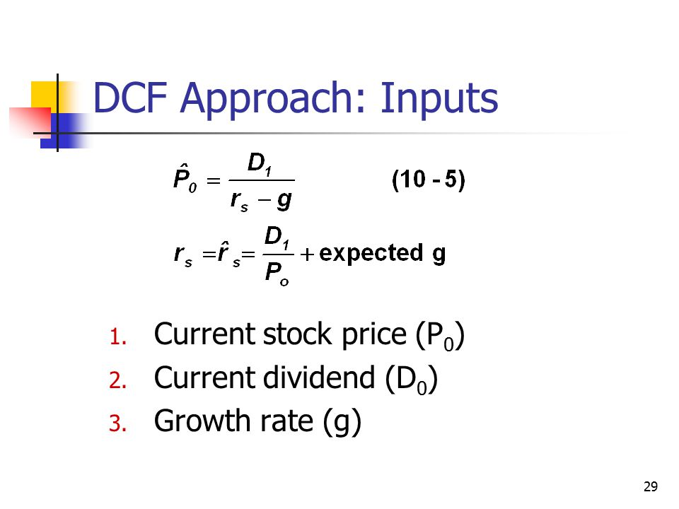 29 DCF Approach: Inputs 1. Current stock price (P 0 ) 2. Current dividend (D 0 ) 3. Growth rate (g)