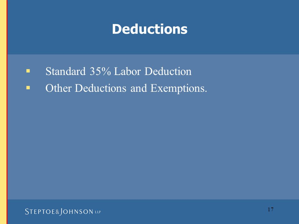 17  Standard 35% Labor Deduction  Other Deductions and Exemptions. Deductions
