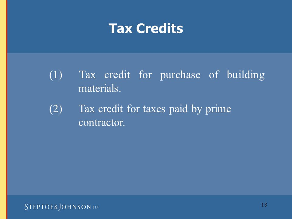 18 (1) Tax credit for purchase of building materials.
