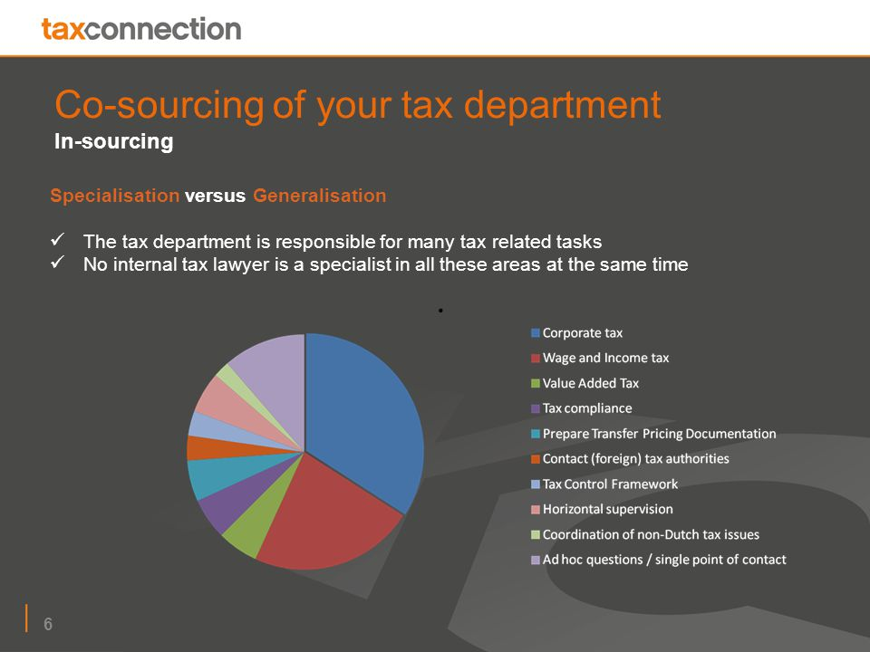 6 Co-sourcing of your tax department In-sourcing Specialisation versus Generalisation The tax department is responsible for many tax related tasks No