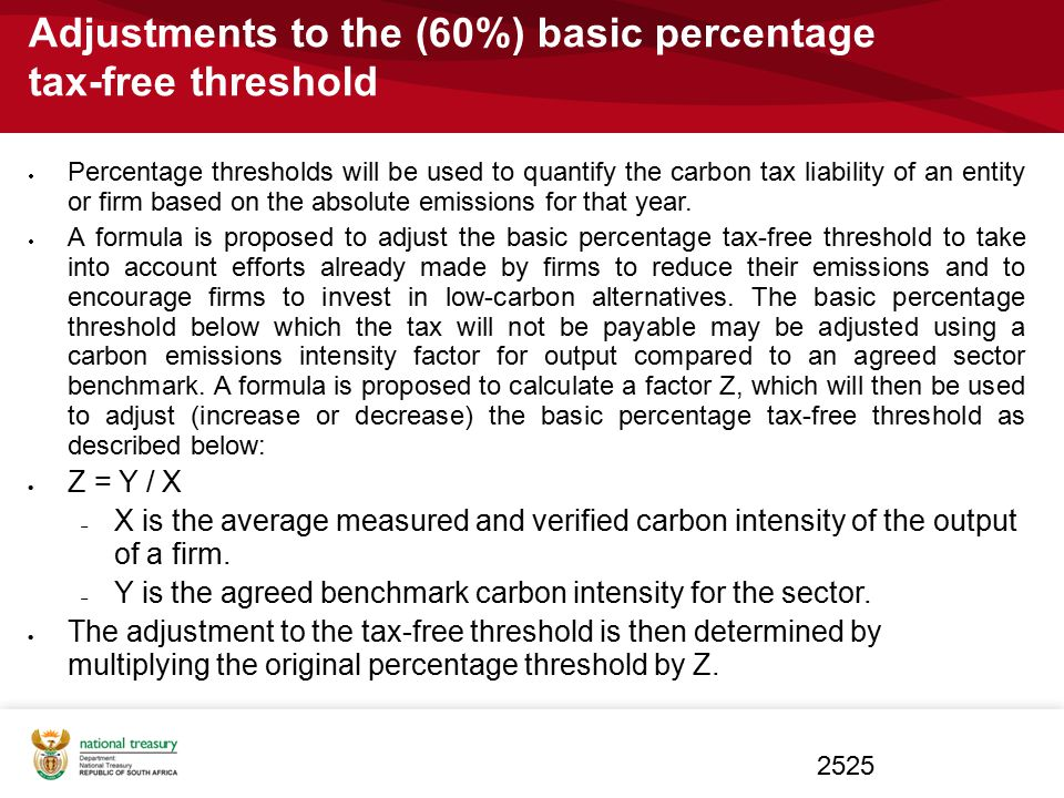 Adjustments to the (60%) basic percentage tax-free threshold  Percentage thresholds will be used to quantify the carbon tax liability of an entity or